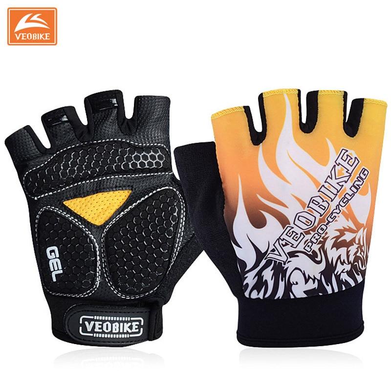 VEOBIKE 2017 Anti-slip Cycling Gloves unisex Gel Padding Bike Gloves Sports Half Finger Gloves Mtb Bicycle Equipment Size M-XL