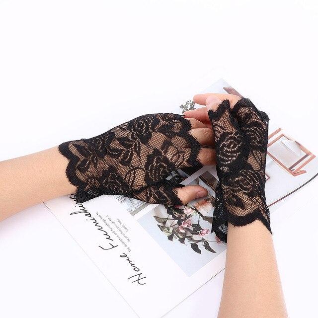 Gants demi-doigt en résille sans doigts | 1 paire de Gants dentelle Sexy pour femmes, 2019 dété noirs pour femmes, Gants chauffants en maille