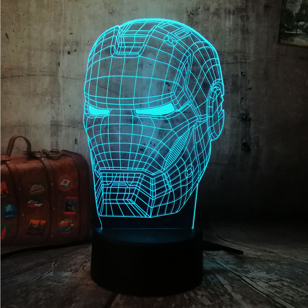 Cool 3D LED Iron Man Light Night Desk Table Lamp RGB 7 Color Change Flashlight USB RGB Controler Luminaria Switch Toy Kids Gift cute cat 3d led lamp 7 color changing 3d night light remote touch switch usb desk table lamp for kids toy gift