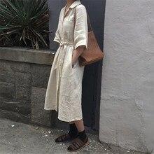 Casual Women Belt Lace Up Dress Korea Solid Turn-Down Collar Cotton Linen Dress Flare Sleeve Button Midi Dress