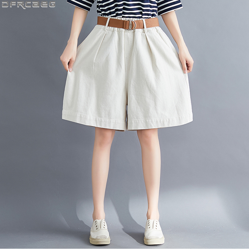 Summer Boyfriend Streetwear Woman Skirt Shorts Loose Large Size Wide Leg Short Jeans Feminino Stretch Waist Washed Denim Shorts
