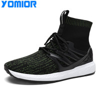 Yomior New Mesh Running Shoes Men Sneakers Outdoor Breathable Comfortable Athletic Sports Shoes Student Socks Shoes