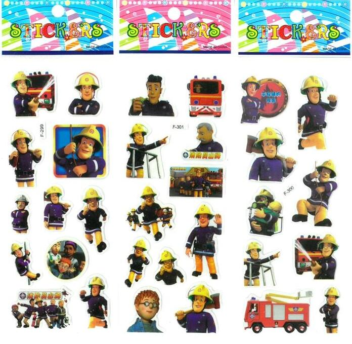 3 sheets/set Fireman Sam stickers toys for kids Home wall decor on laptop cute cartoon mini 3D foam sticker gifts toys stylish mirkwood design 3d wall sticker for home decor