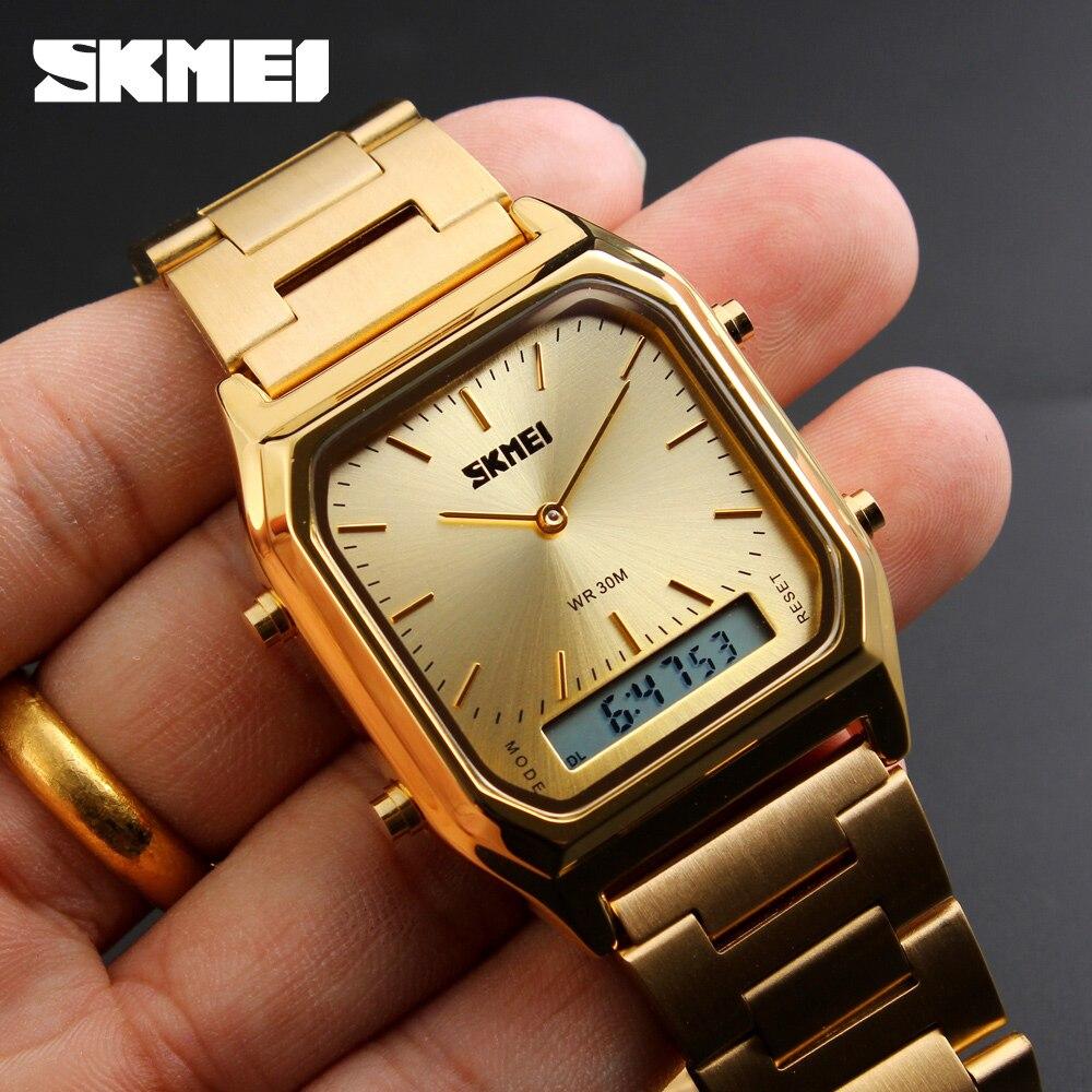 SKMEI Men Fashion Casual Quartz Wristwatches Digital Dual Time Sport Watches 30M Waterproof Casual Watch 1220