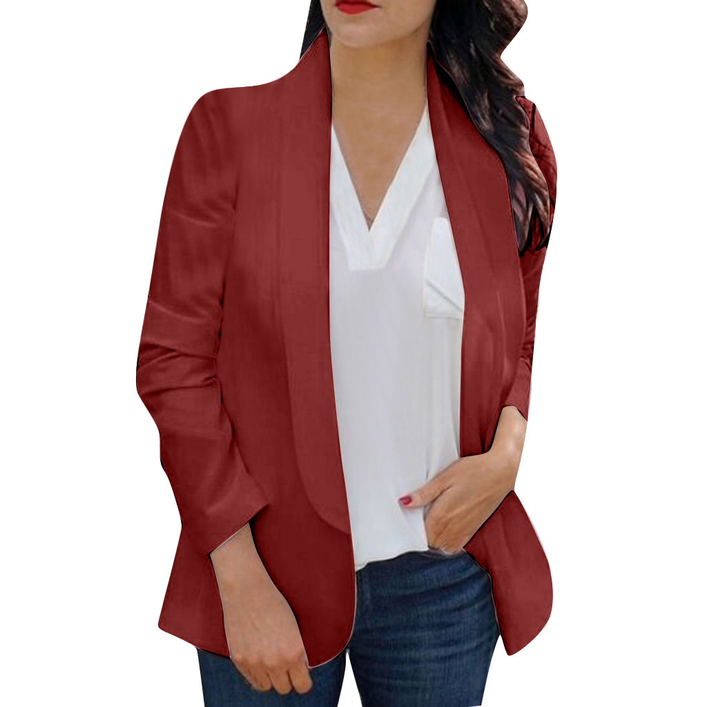 HTB1h4RnaFY7gK0jSZKzq6yikpXa4 30#Feminino Women White Long Sleeve Open Front Cardigan Suit Jacket Work Office Knit