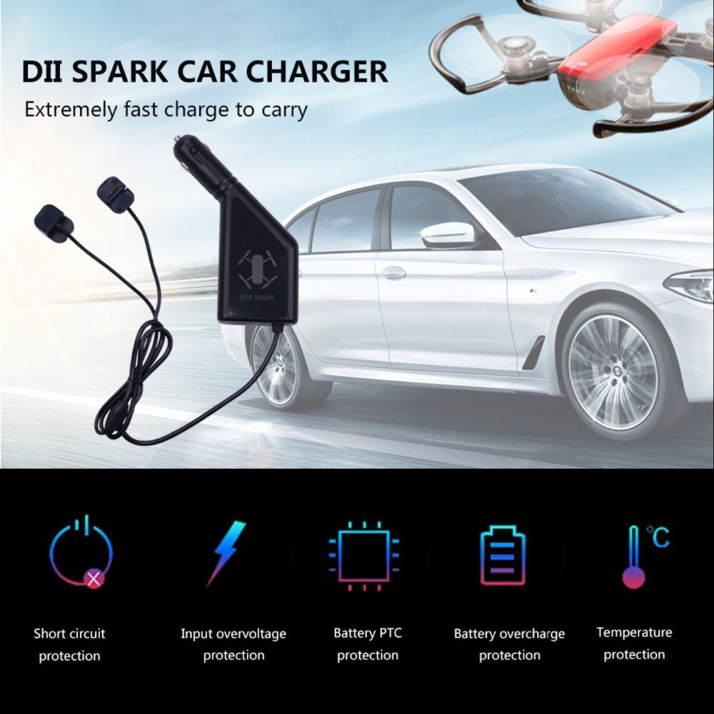 3 in 1 Car Charger Battery Charging USB Port Remote Control 2 Cable Charge For font