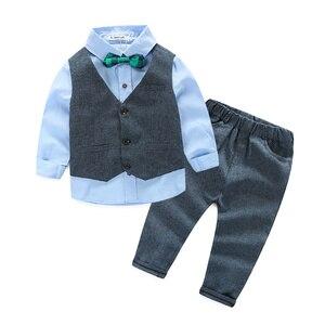 Image 1 - בגדי ילדי בגדי ילדי אדון אפוד + חולצה + מכנסיים ועניבה מסיבת בגדי בני תינוק בגדים בנים חדשים 3 יח\סט