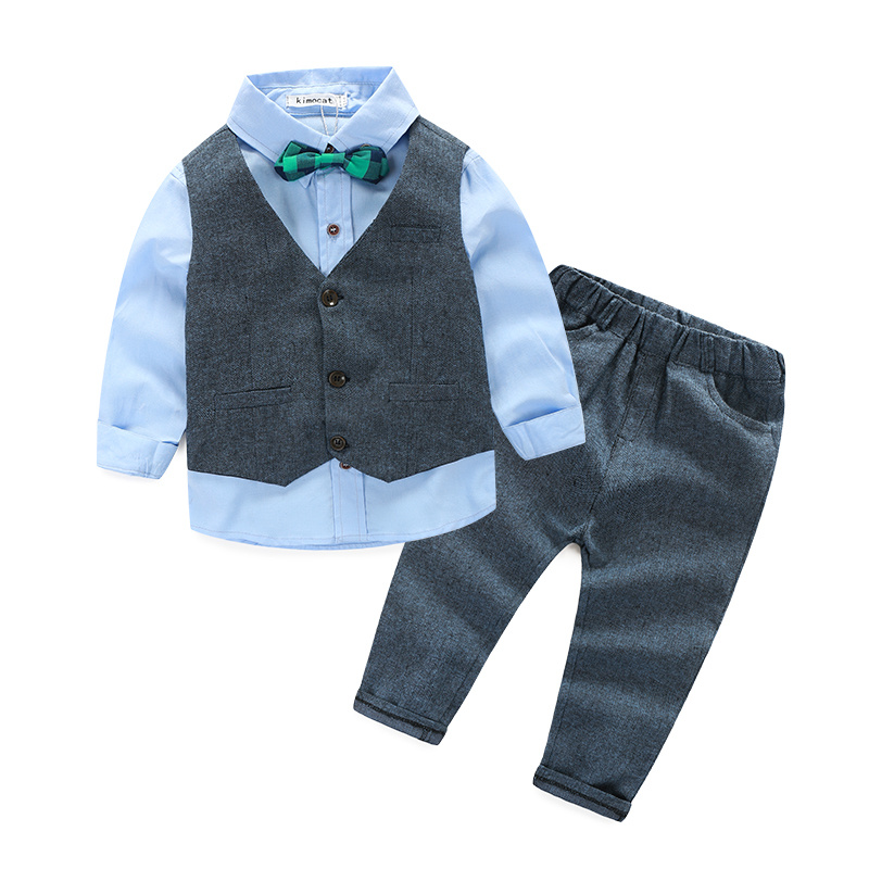 Children clothing gentleman kids clothes shirt+vest+pants and tie party baby boys clothes new boys clothing 3pcs/set kids clothing set plaid shirt with grey vest gentleman baby clothes with bow and casual pants 3pcs set for newborn clothes