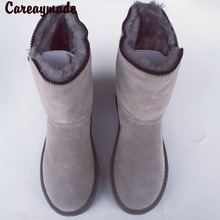 Careaymade-The new winter snow boots female sheep fur with warm cashmere leather shoes barrel boots thick waterproof,5 colors