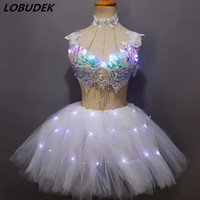 Colorful Sequins Rhinestones Bikini Tutu Skirt Set Nightclub Bar DJ Singer DS Costume Party Performance Outfit LED Dance Wears