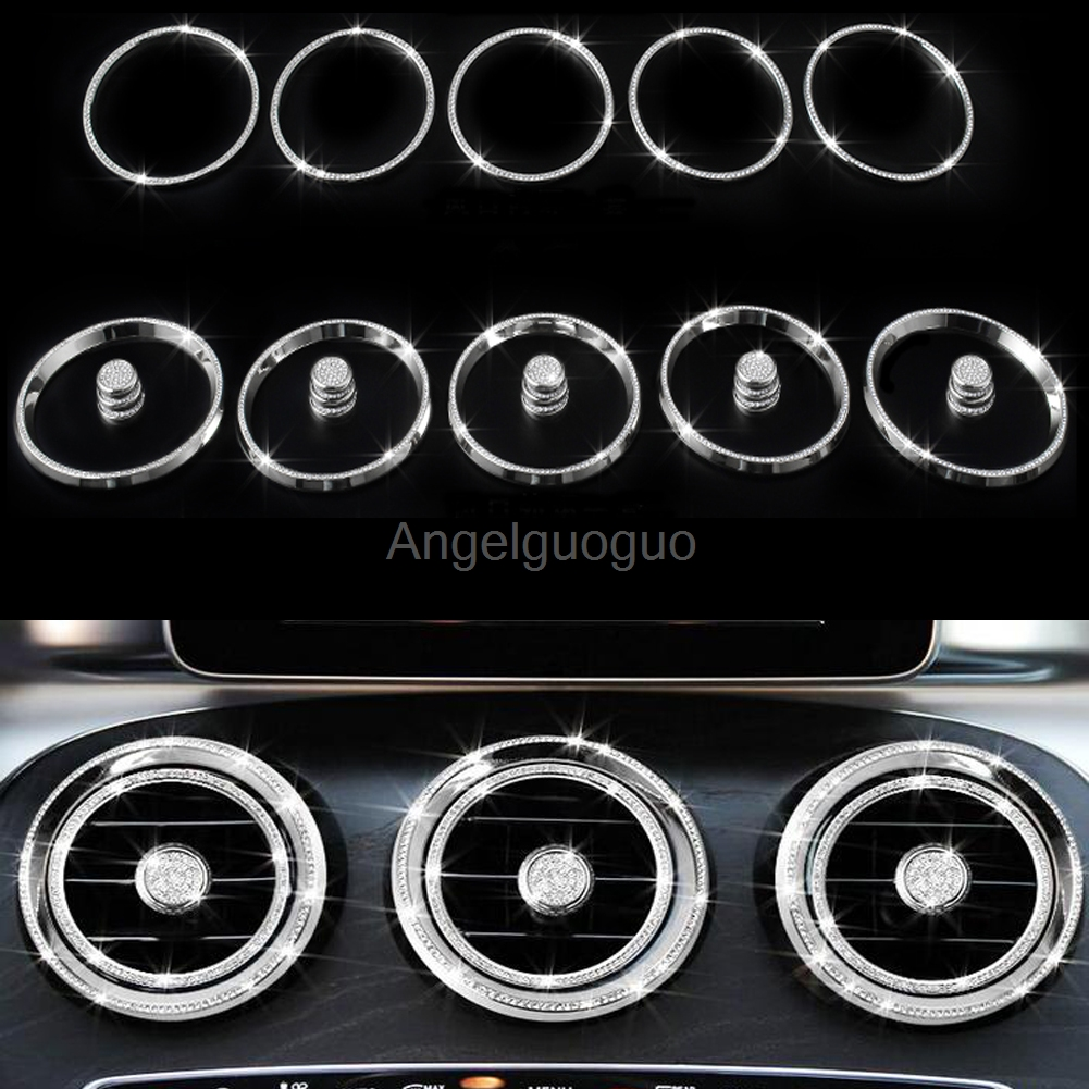 Angelguoguo Car Air outlet sticker Instrument panel Air outlet decoration ring sticker for Mercedes Benz C