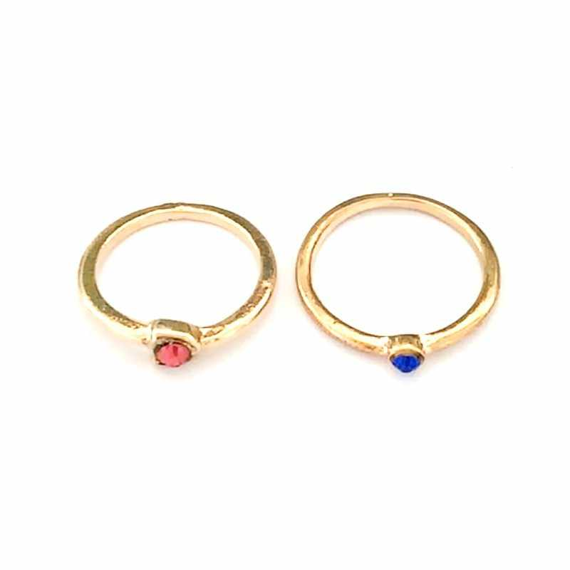 C453 Punk Anillo Fashion Lovely Vintage Red Blue Crystal Tail Finger Rings For Women Wedding Jewelry Cheap Bohemia Gift