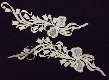 30cm*7.5cm polyester embroidery mirrored applique,embroidery hair decoration patches,veil applique,XERY-BQ0923H