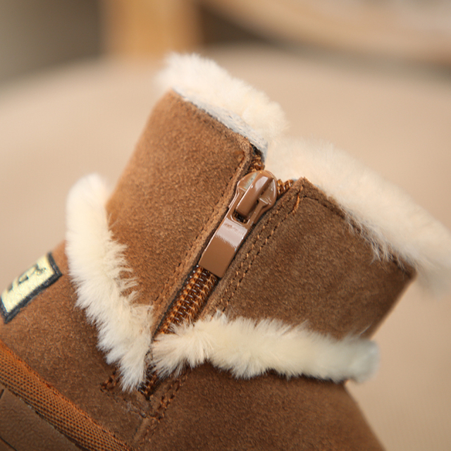Children's snow foot warmer cotton boots 2018 winter new shoes girls boys genuine leather wool boots Super soft and comfortable Girl's Shoes