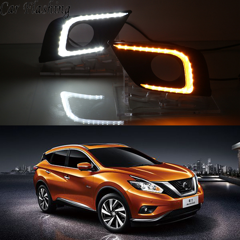 CSCSNL 1 set ABS LED DRL Daytime Running Lights Fog Lamp Cover Light With turnning yellow