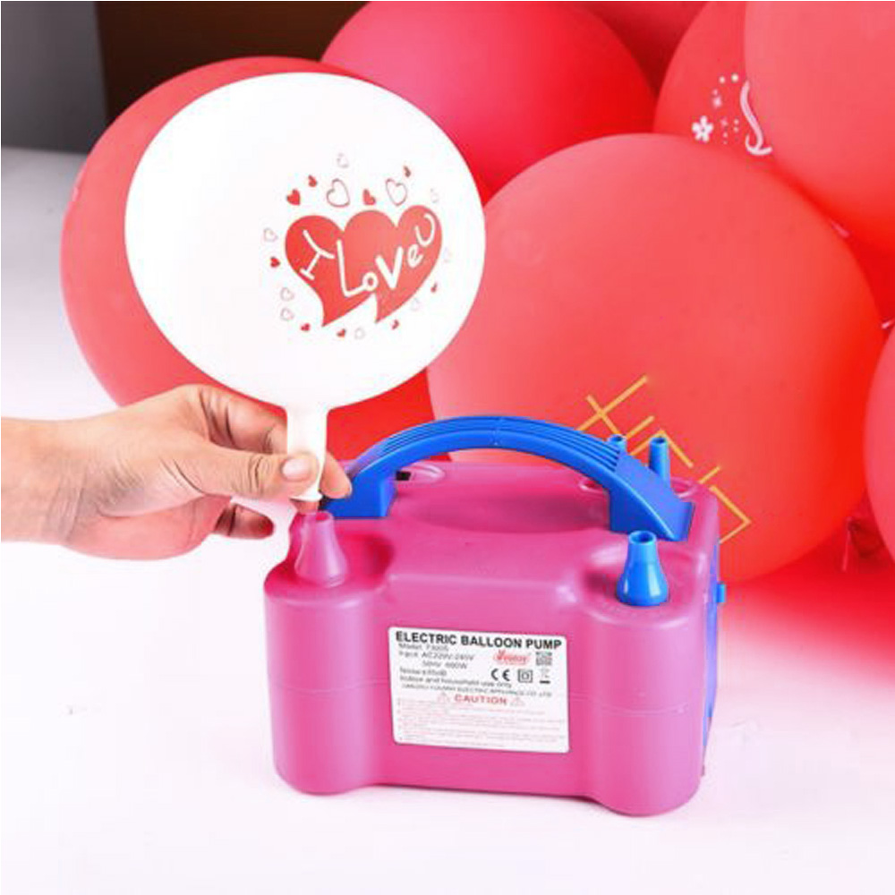 220 V UE enchufe de alta potencia portátil dos boquilla soplador de aire eléctrica globo para inflar con bomba