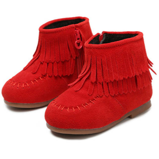 f2aa0bbdb3a7b placeholder Girls Boots for Winter Fringe Boots Princess Red Boots Cute  Booties Tassels Suede Leather Solid Color