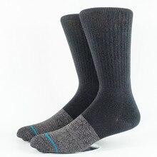 Высококачественные мужские черные носки для скейтеров, размер M(6-8,5), L(9-12), европейский размер 39-41,5, 42-45(толстый