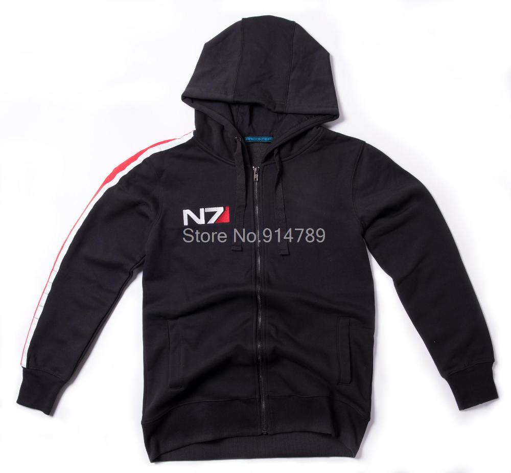 COSPLAY MASS EFFECT FELPA N7 ZIPPER FLEECE LUNGA CON CAPPUCCIO OUTWEAR NERO IN SIZES-35746