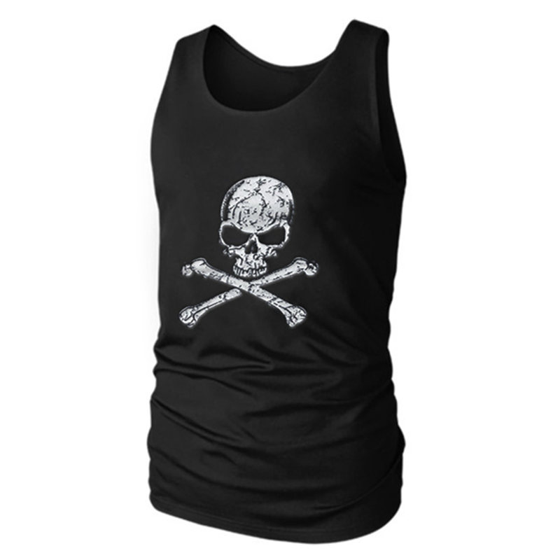 Men's Vivid Workout   Tank     Tops   Vest Sexy Fitted Men's   Tank   Men Fitness Tees Muscle Men Activewears printing Skull Cotton Muscle