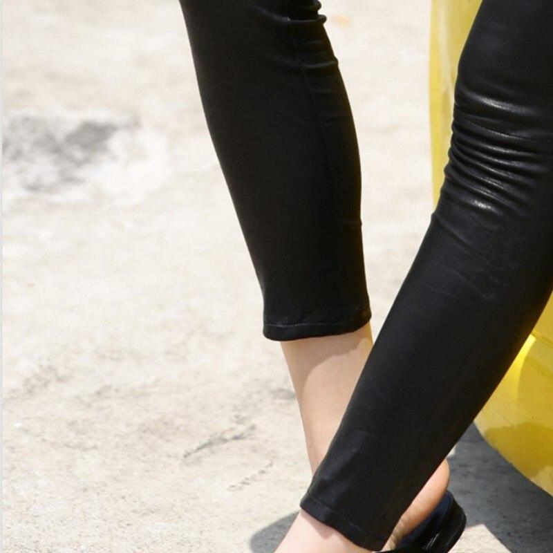 Панк рейв женские готические сексуальные леггинсы с дырками стимпанк эластичные облегающие Женские брюки модные кожаные леггинсы - 6