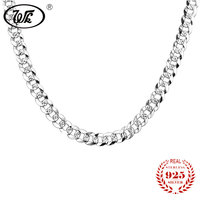 WK Flat 7MM Mens Boys Link Chain Necklace Silver 925 Sterling Vintage Punk Men Necklaces 50cm