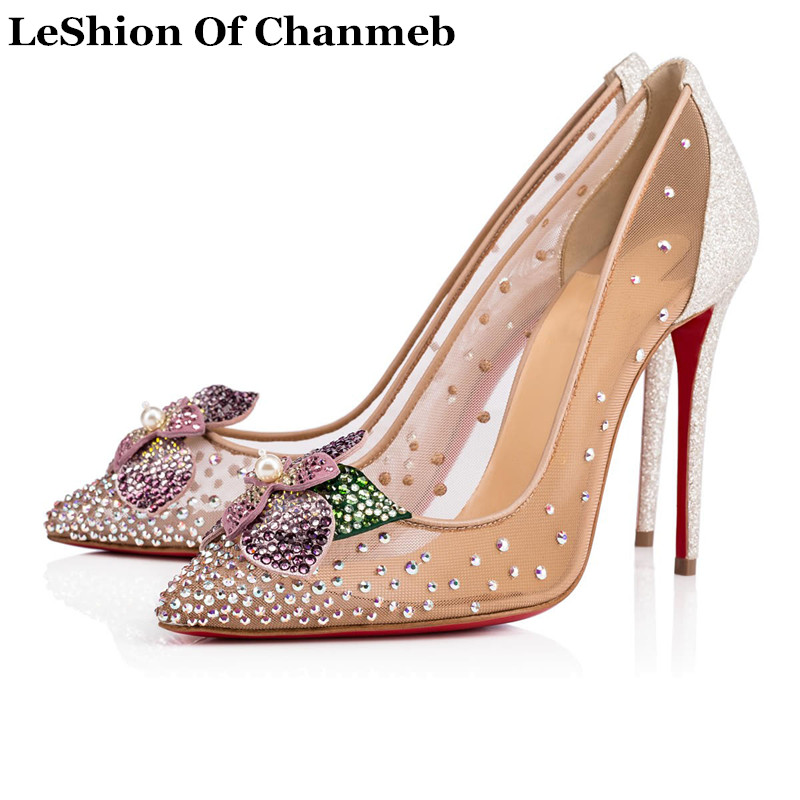 EUR Size 34 45 Sexy Stiletto Heels Woman Bling Bling Crystal Pearl Flowers Pumps Female Party