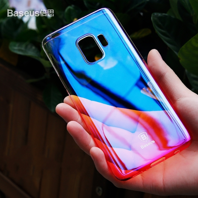 the best attitude 87c52 04bfa US $10.19 |BASEUS Glaze Color Changing PC Back Case For Samsung Galaxy S9  Plus / S9 / For iPhone X / 7 Plus Optical Plating Phone Cover-in Fitted ...