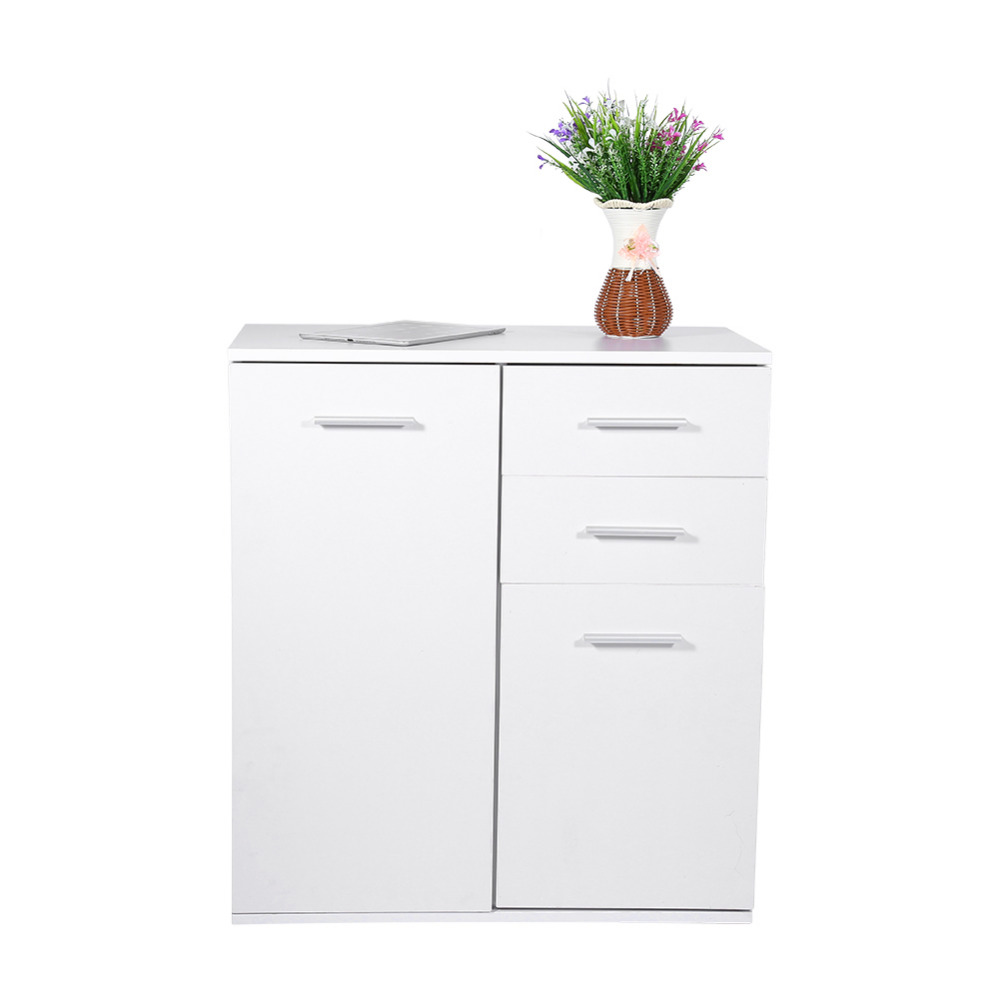 73 5x66x33cm White Wooden Floor Standing Storage Cabinet Shelves Cupboard with 2 Drawers and 2 Doors