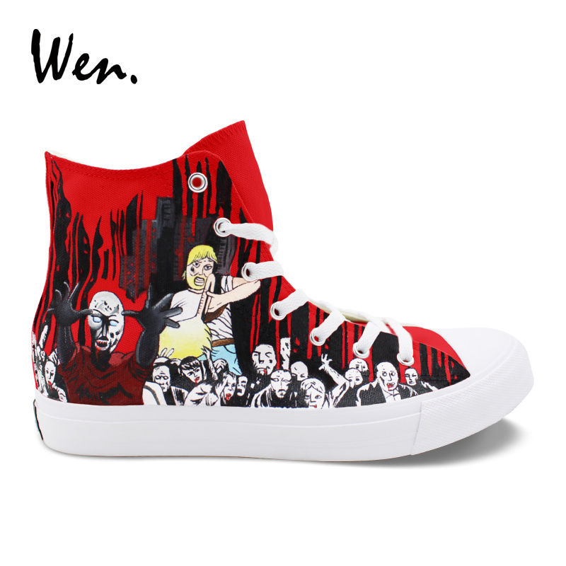 Wen Hand Painted Birthday Shoes Design Walking Dead Red Fashion High Top Lace Up Sneakers Women Canvas Casual Shoes Men