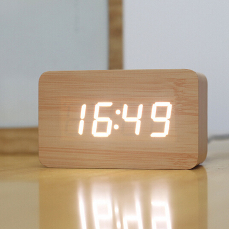 creative designled display light alarm wood cool despertador digital alarm clocksound giftin alarm clocks from home