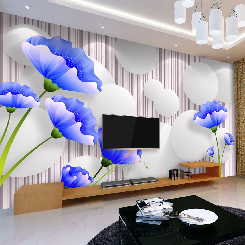 Custom Photo Mural Wallpaper Blue Flower Modern Simple 3D TV Background Wall Painting Living Room Bedroom Papel De Parede Floral custom 3d wallpaper mural chinese style flower and bird wallpaper restaurant living room bedroom sofa tv wall papel de parede
