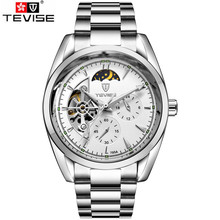 Tevise Occasionnels Montre Horloges de Mannen 2017 Hommes Jour Moonphase Auto Montre Mécanique Montres Hommes Montres Boîte Cadeau Libèrent Le Bateau