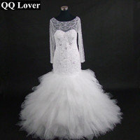 QQ Lover 2017 New African Styles Luxury Beads Long Sleeves Mermaid Wedding Dress Custom-made Plus Size Wedding Gowns