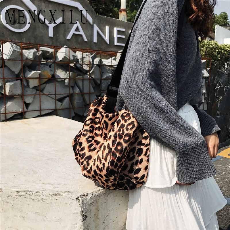 MENGXILU Web celebrity Leopard Print Port Wind Crossbody Bag Single-Shoulder Bag Bucket Bag Fashion Messenger Bag Leisure Joker