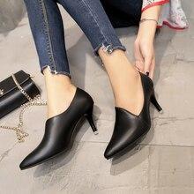 Dwayne สตรีรองเท้าส้นสูง OL รองเท้าทำงานสีดำสุภาพสตรีรองเท้าส้นสูงรองเท้าผู้หญิง 2019 ใหม่ Stiletto Pointed Toe ปั๊ม