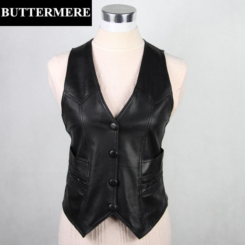 BUTTERMERE Brand Clothing Real Leather Vest Womens Sleeveless Waistcoat Genuine Sheepski ...