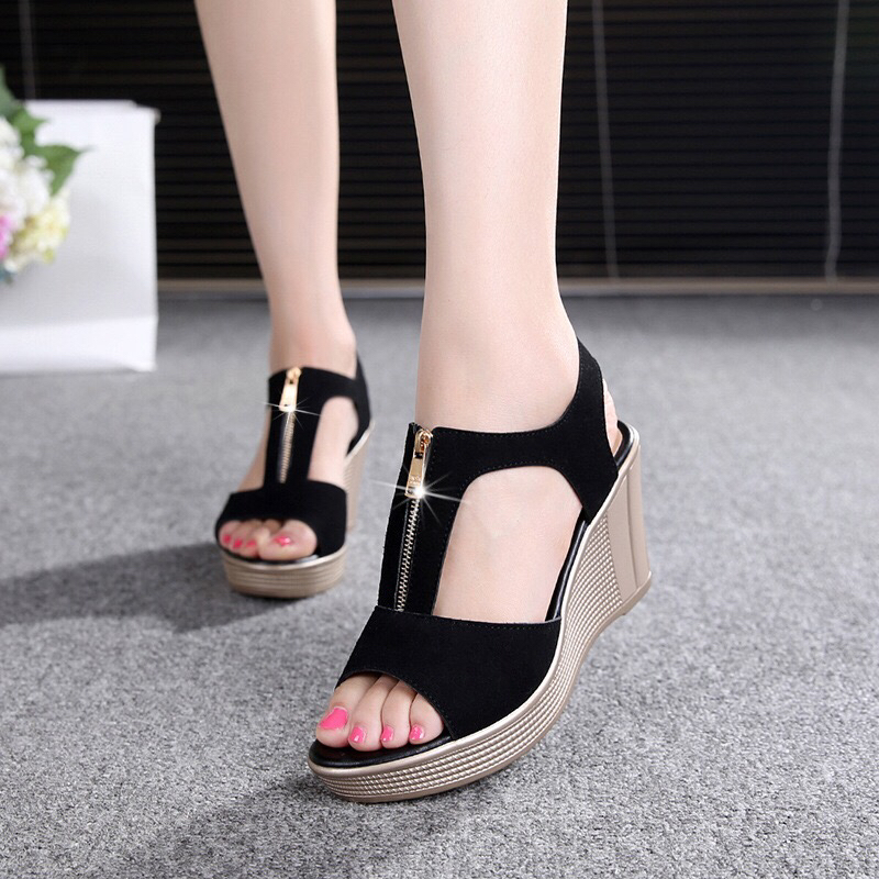Fashion Women Shoes 2018 Summer Roman Ladies Wedge Sandals Zip Open Toe High-heeled Shoes Women Platform Sandals PLUS Size 33-43