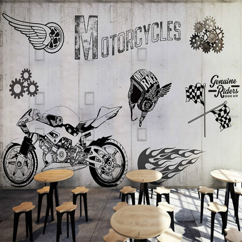3d custom motorcycle industry metal gray wall graffiti 3D wallpaper murals 3D wallpaper auto repair shop Restaurant Lounge Bar custom size photo 3d wood blackboard graffiti wallpaper pizza shop snack bar restaurant burgers store wallpaper mural