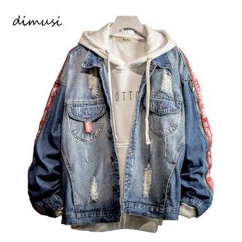 501aabf6 DIMUSI Мужская джинсовая куртка модные рваные джинсовая куртка мужская хип  хоп уличные джинсы куртки мужские ковбойские пальто 3XL, YA736