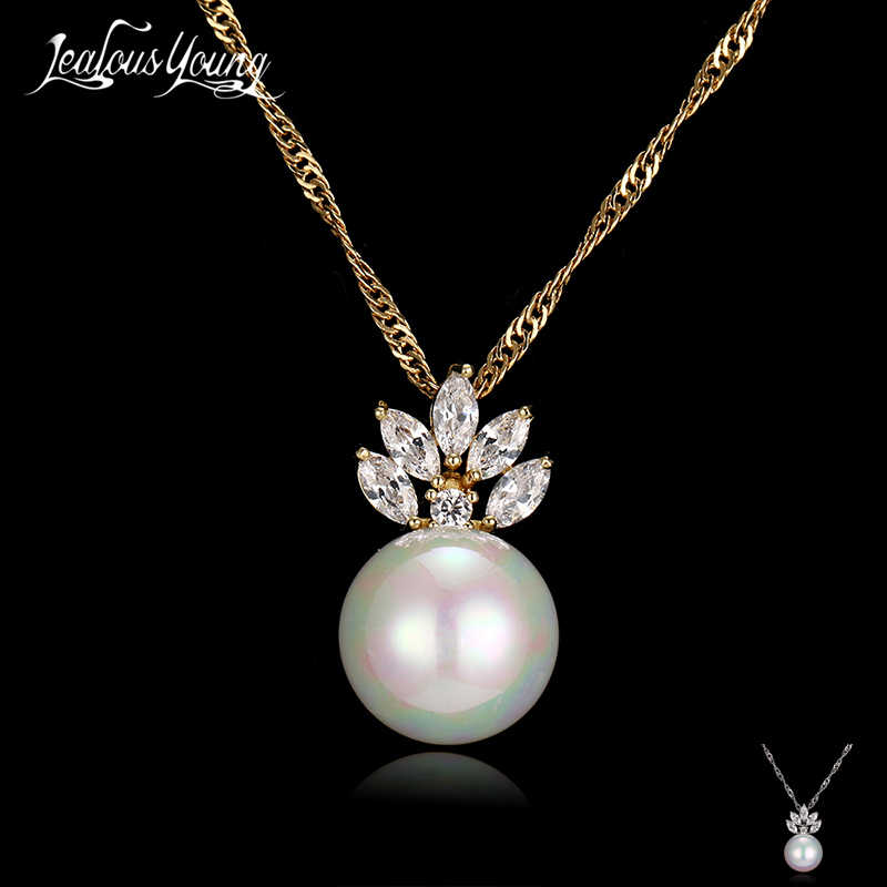 Simulated Pearl Necklace Women With Marquise Zircon Crystal Pendant Necklaces Jewelry Collar Best Friend Gift bijoux AN149
