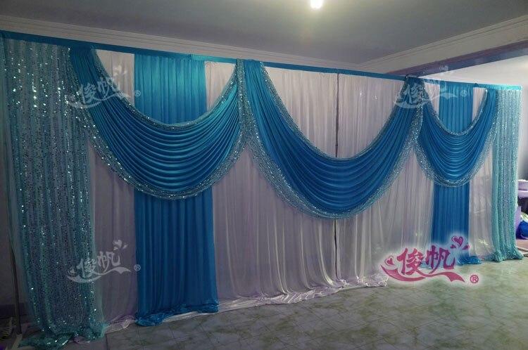 Ледяной шелк белый свадебный фон с фиолетовые пайетки Swag пользовательский цвет роскошный свадебный фон для свадебной вечеринки декор - Цвет: Синий