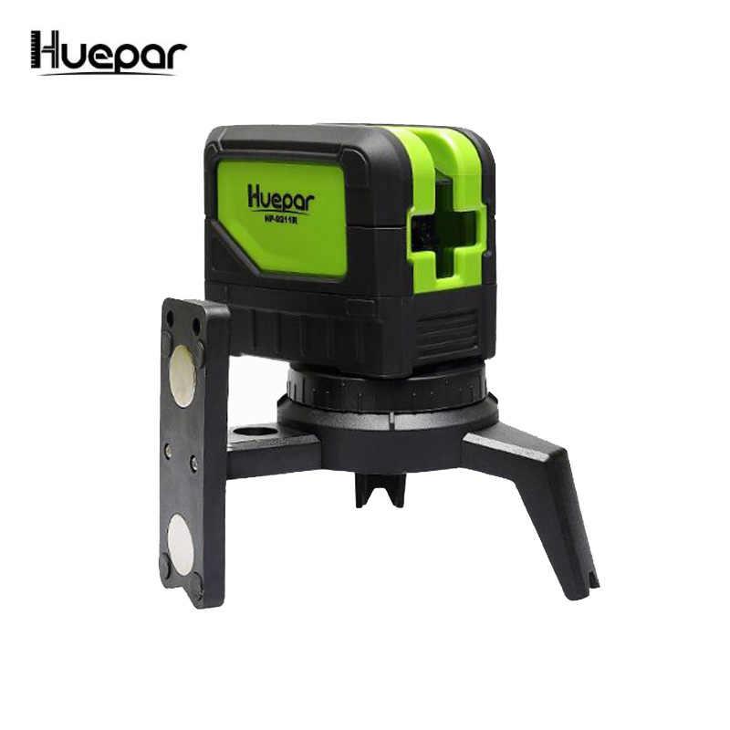 מיני Huepar 2 קווים ירוק לייזר רמת עצמי פילוס צלב קו לייזר נייד ירוק לייזר רמת משלוח חינם Huepar מותג 9211 גרם
