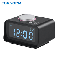 FORNORM Multi function FM Radio with Smart Alarm Clock Dual Alarm Clock Indoor Thermometer Dual USB Port Charger AUX Function