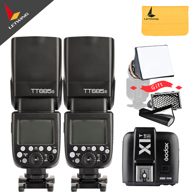 Free DHL 2 pcs Godox TT685S 2.4G HSS TTL GN60 Camera Flash Speedlite with X1S Trigger Transmitter Kit for Sony with Gift