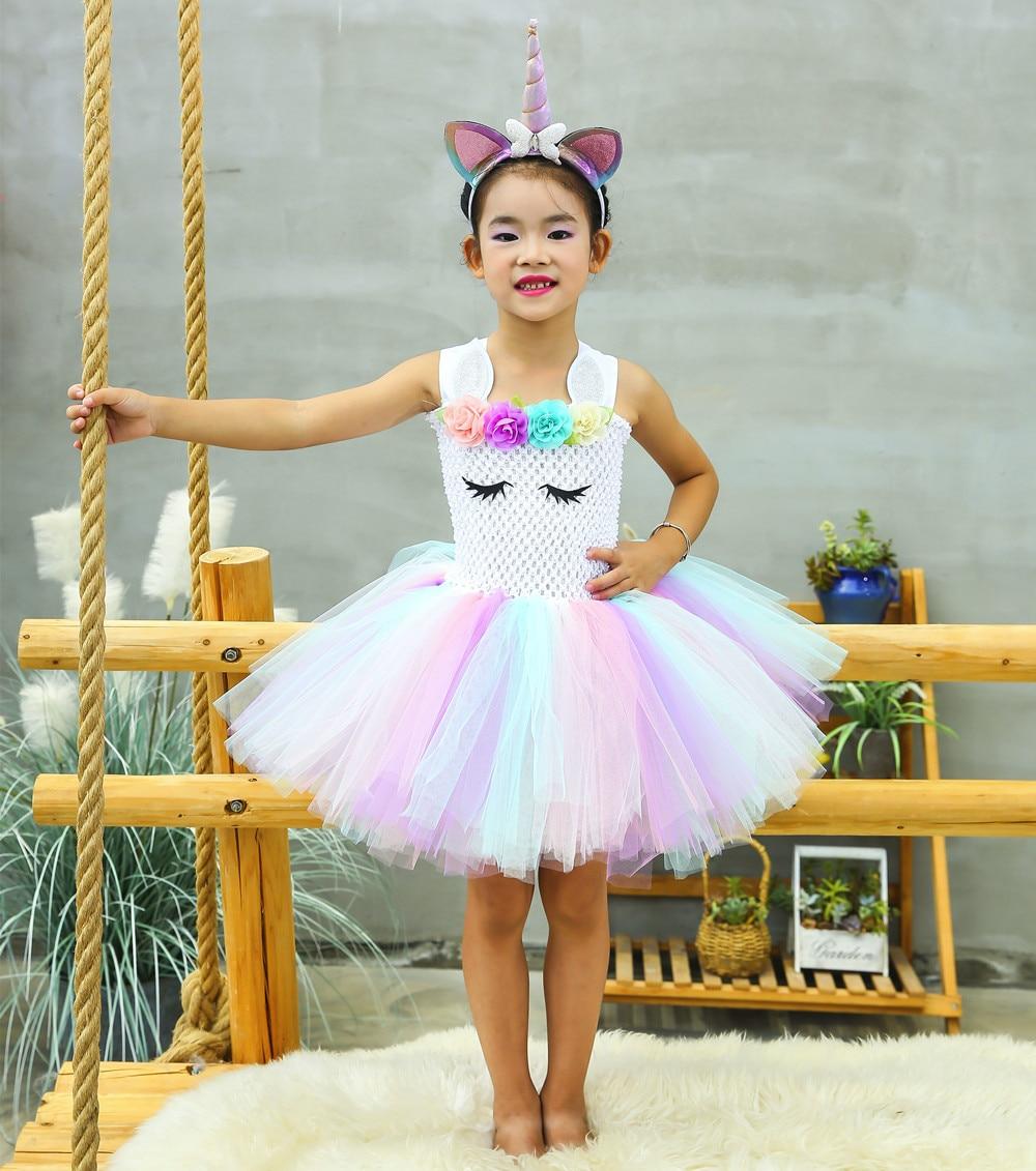 Girls Rainbow Unicorn Tutu Dress Kids Flower Unicorn Birthday Party Dresses Kids Christmas Halloween Costume for Girls