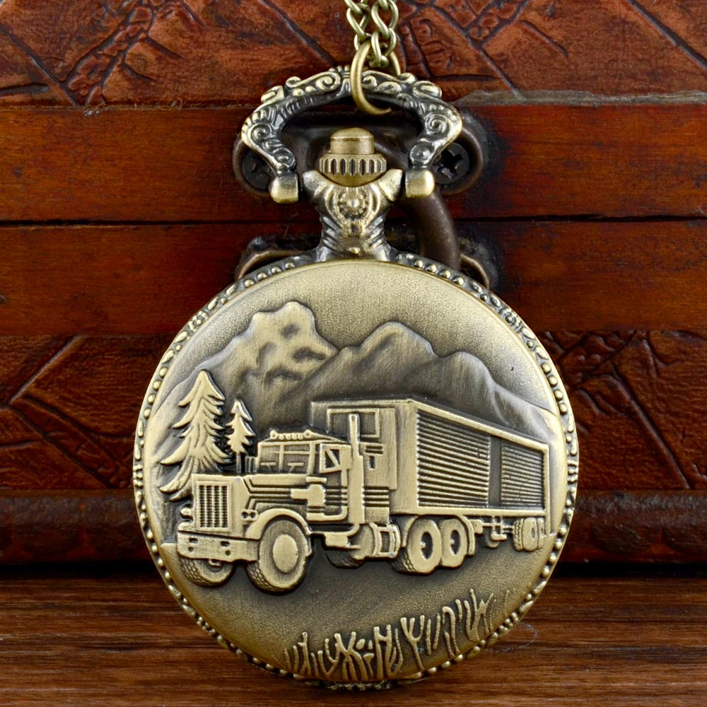 Vintage Bronze Truck Quartz Pocket Watch Chains Antique Men Women Pendant Necklace Clock Gift wholesale fashion quartz eye pyramid fob watches men gift pocket watch necklace women antique retro classic bronze father hot
