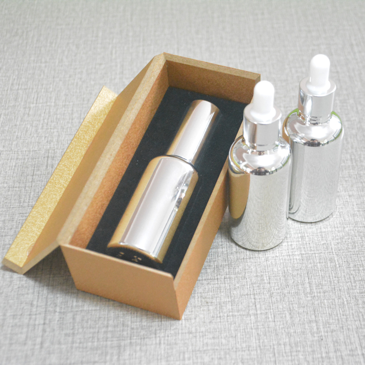 4pcs 50ml High temperature silver plated dropper bottle With wooden box,empty glass essential oil bottle, perfume subpackage jar illusion money box dream box money from empty box wonder box magic tricks props comedy mentalism gimmick