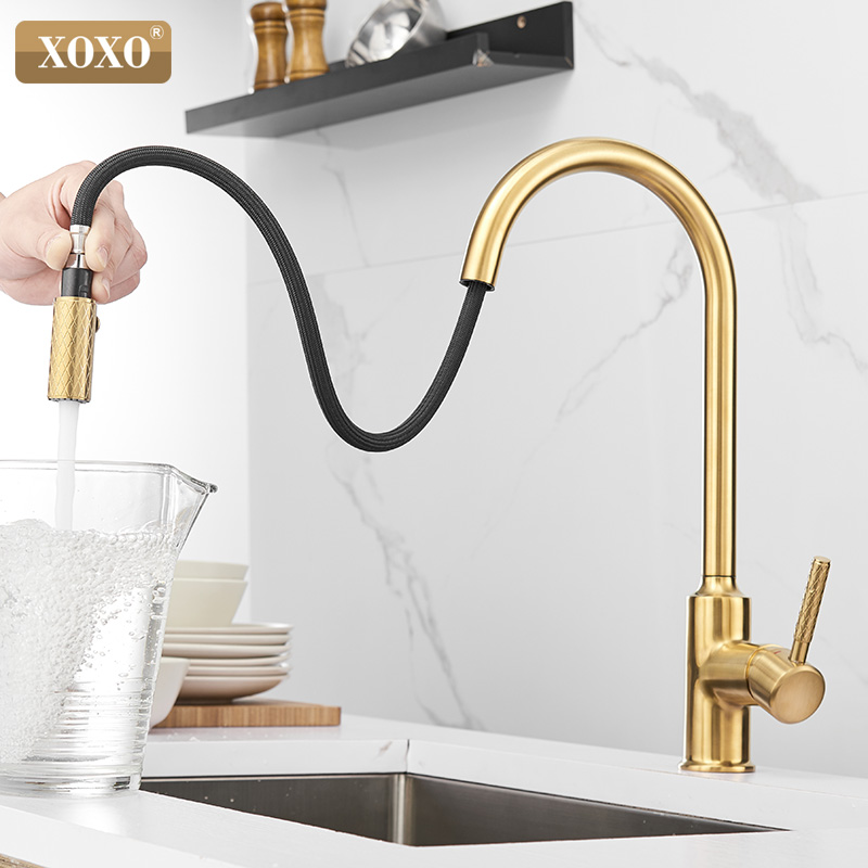 XOXO Kitchen Faucet Pull Out Cold And Hot Brushed Gold Torneira Cozinha Black Single Holder Single Hole Sink Faucet Mixer 1346
