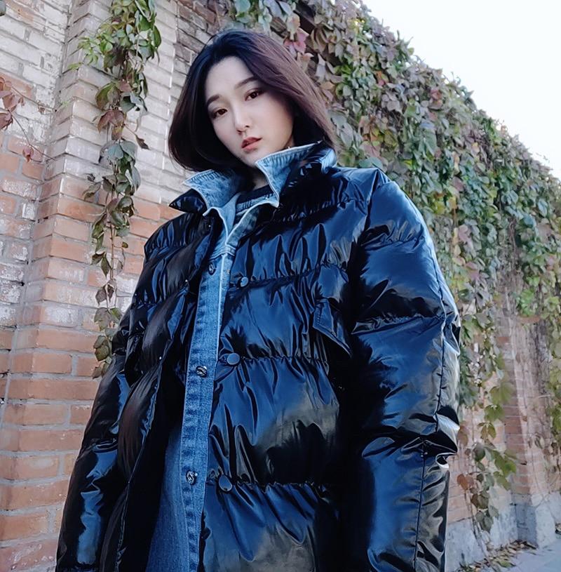 Bonu Invierno Negro Cálido plata Parka Plata Negro Espesar Harajuku Chaqueta Brillante Para Bf Abajo Mujer De Abrigo ppgUWvd